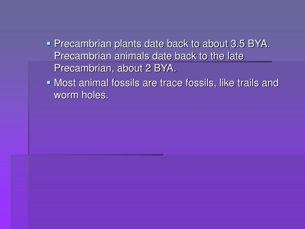 Precambrian plants date back to about 3.5 BYA.  Precambrian animals date back to the late Precambrian, about 2 BYA.