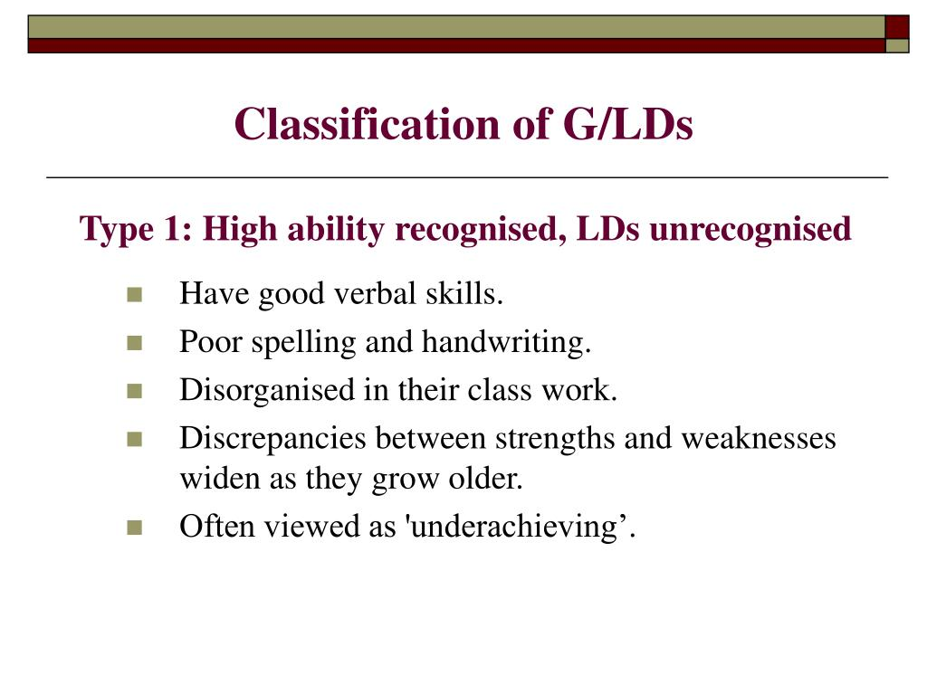 Classification of G/LDs
