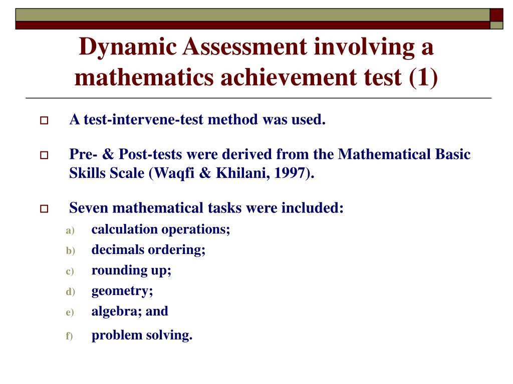 Dynamic Assessment involving a mathematics achievement test (1)