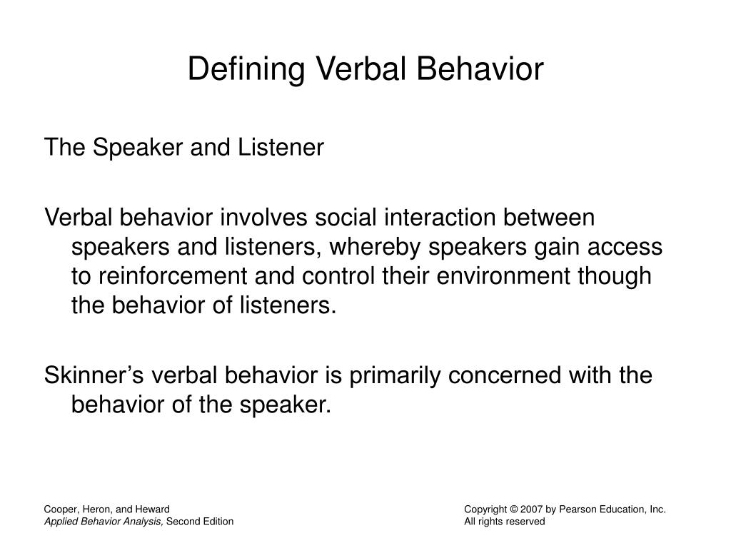 Defining Verbal Behavior