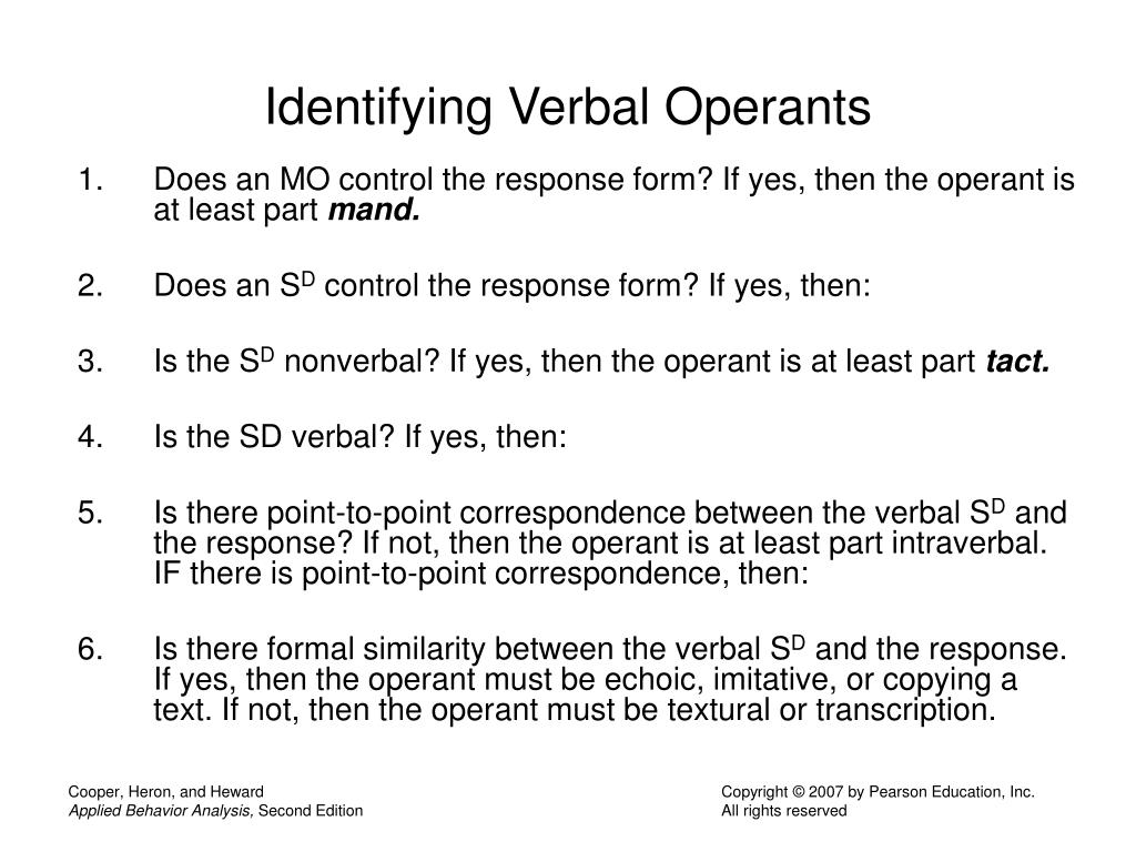 Identifying Verbal Operants