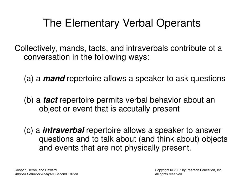 The Elementary Verbal Operants