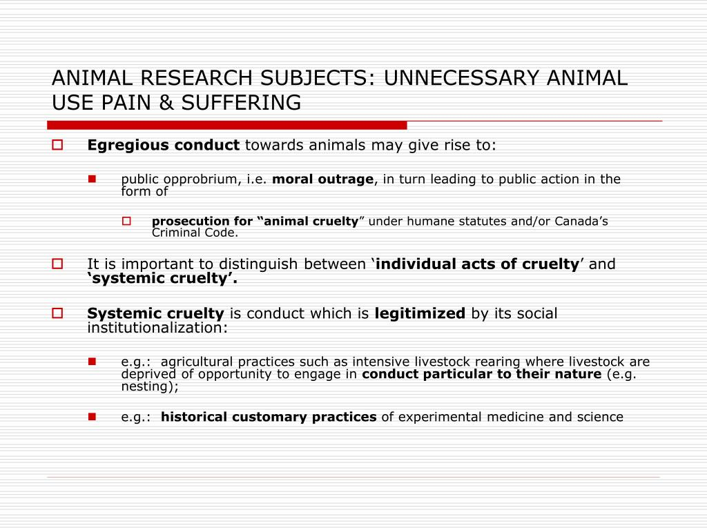 ANIMAL RESEARCH SUBJECTS: UNNECESSARY ANIMAL USE PAIN & SUFFERING