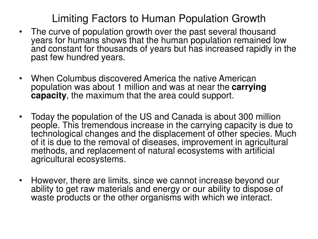 Limiting Factors to Human Population Growth