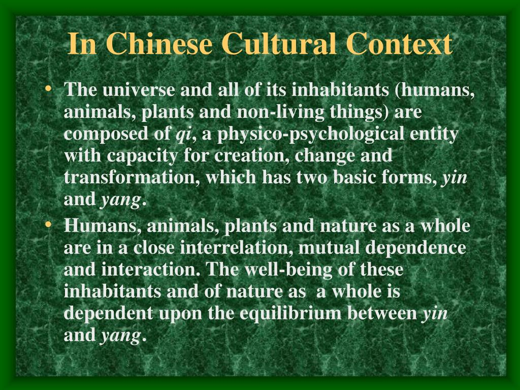 In Chinese Cultural Context