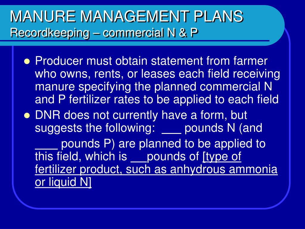 MANURE MANAGEMENT PLANS