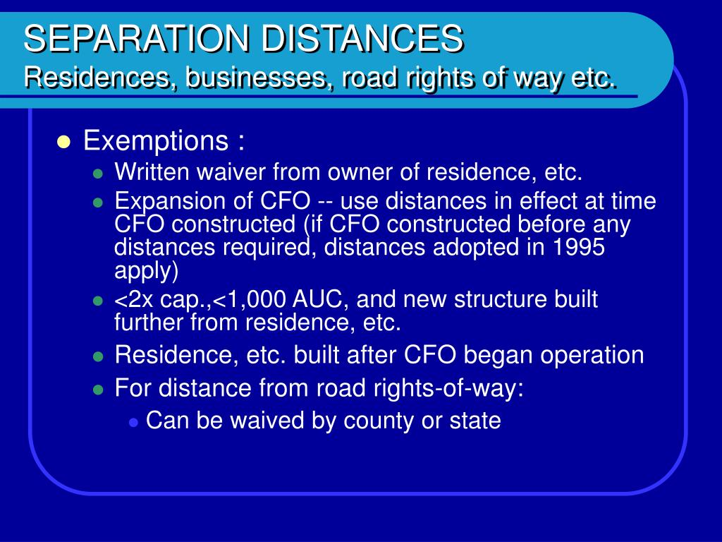 SEPARATION DISTANCES