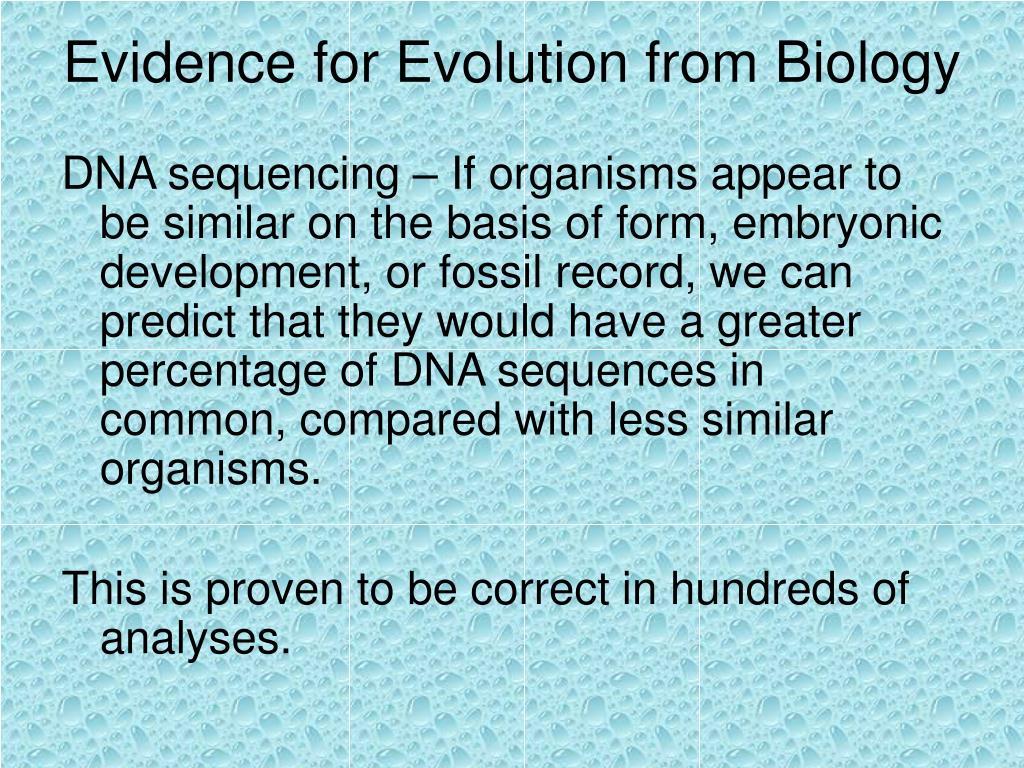 Evidence for Evolution from Biology