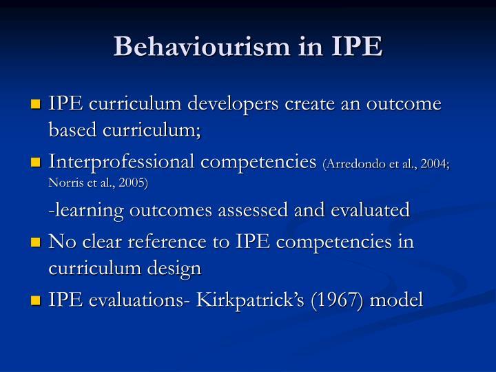 Behaviourism in IPE