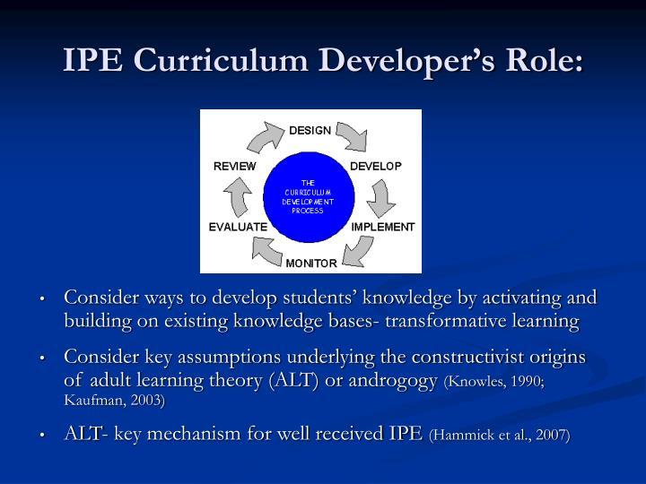 IPE Curriculum Developer's Role:
