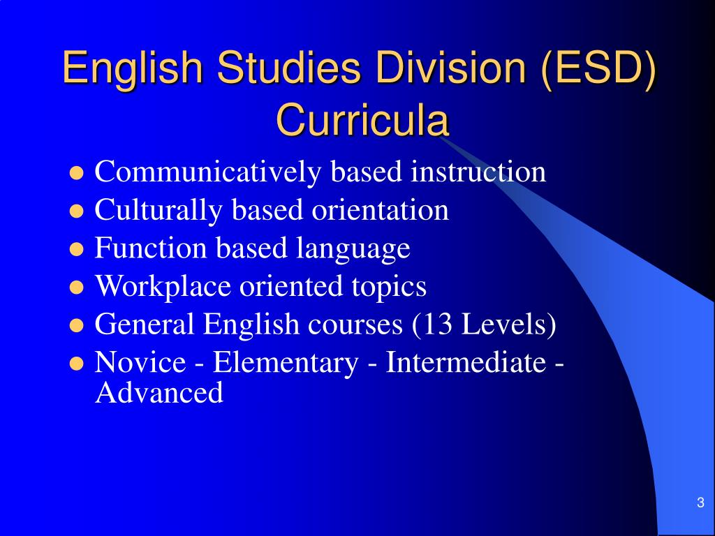English Studies Division (ESD)Curricula