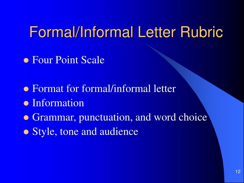 Formal/Informal Letter Rubric