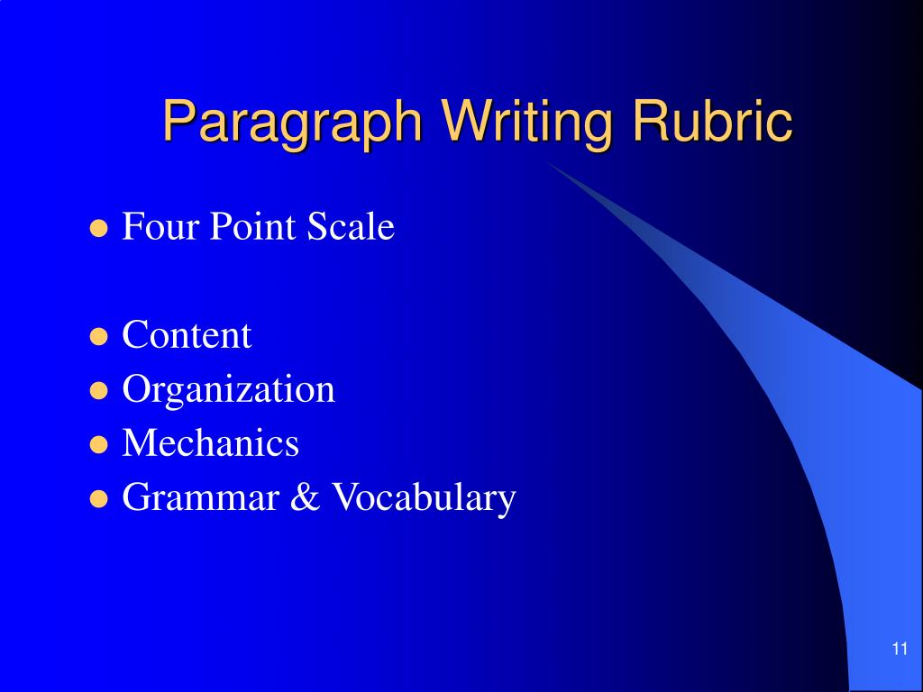 Paragraph Writing Rubric