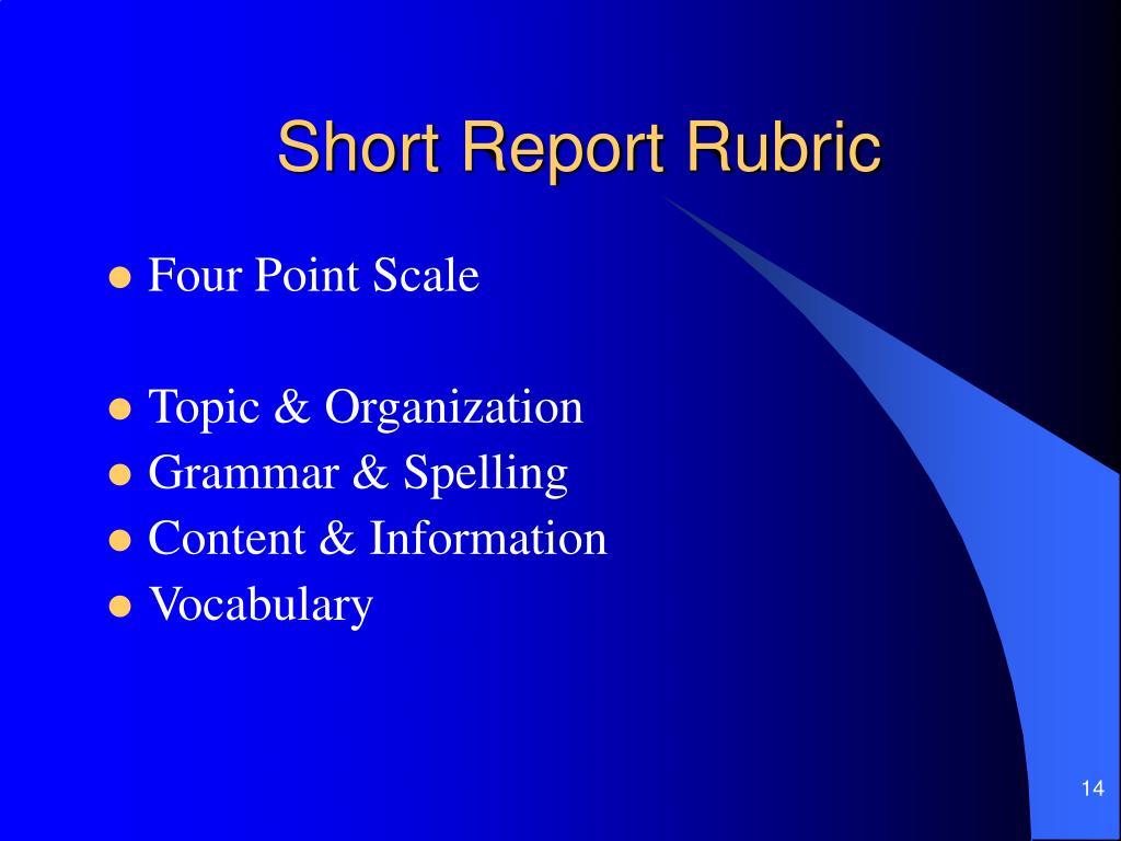 Short Report Rubric