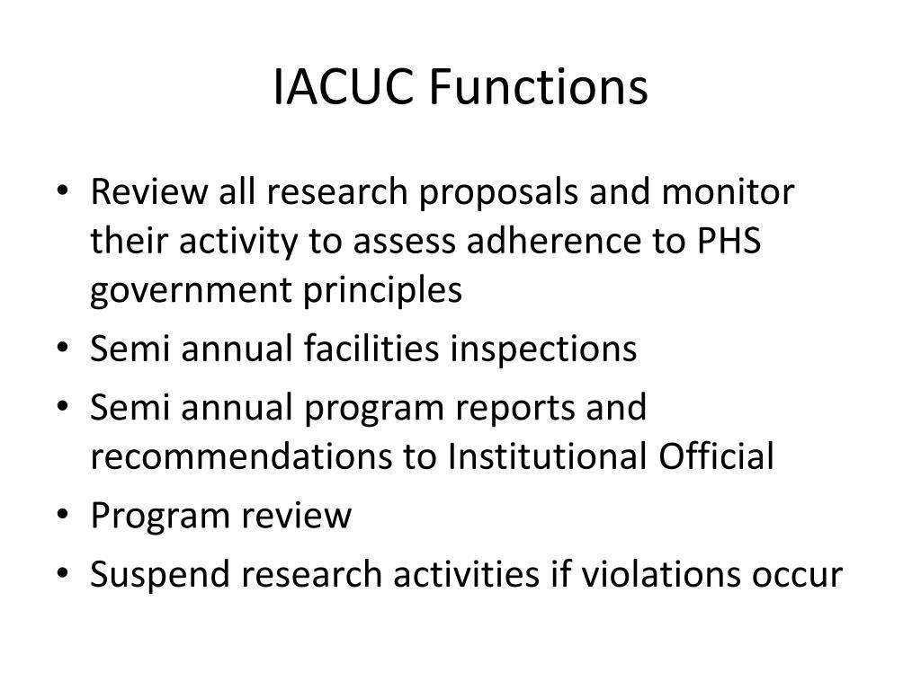 IACUC Functions