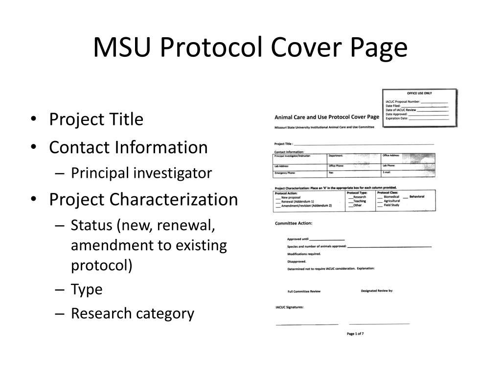 MSU Protocol Cover Page