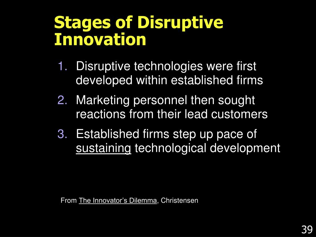 Stages of Disruptive Innovation
