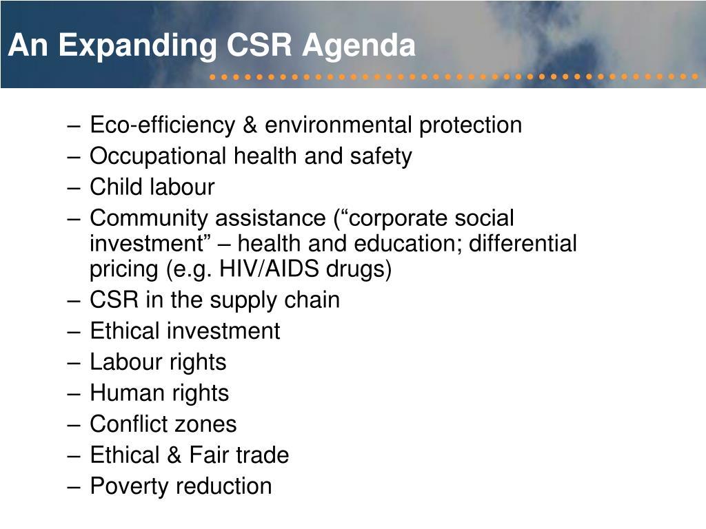 An Expanding CSR Agenda