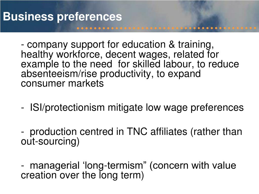 Business preferences