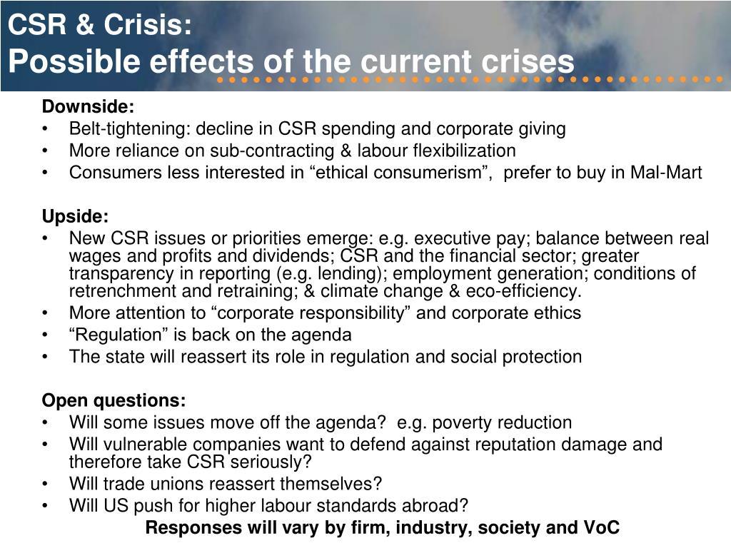 CSR & Crisis: