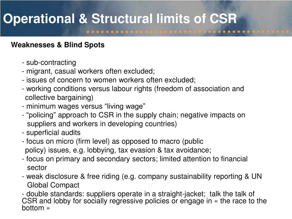 Operational & Structural limits of CSR