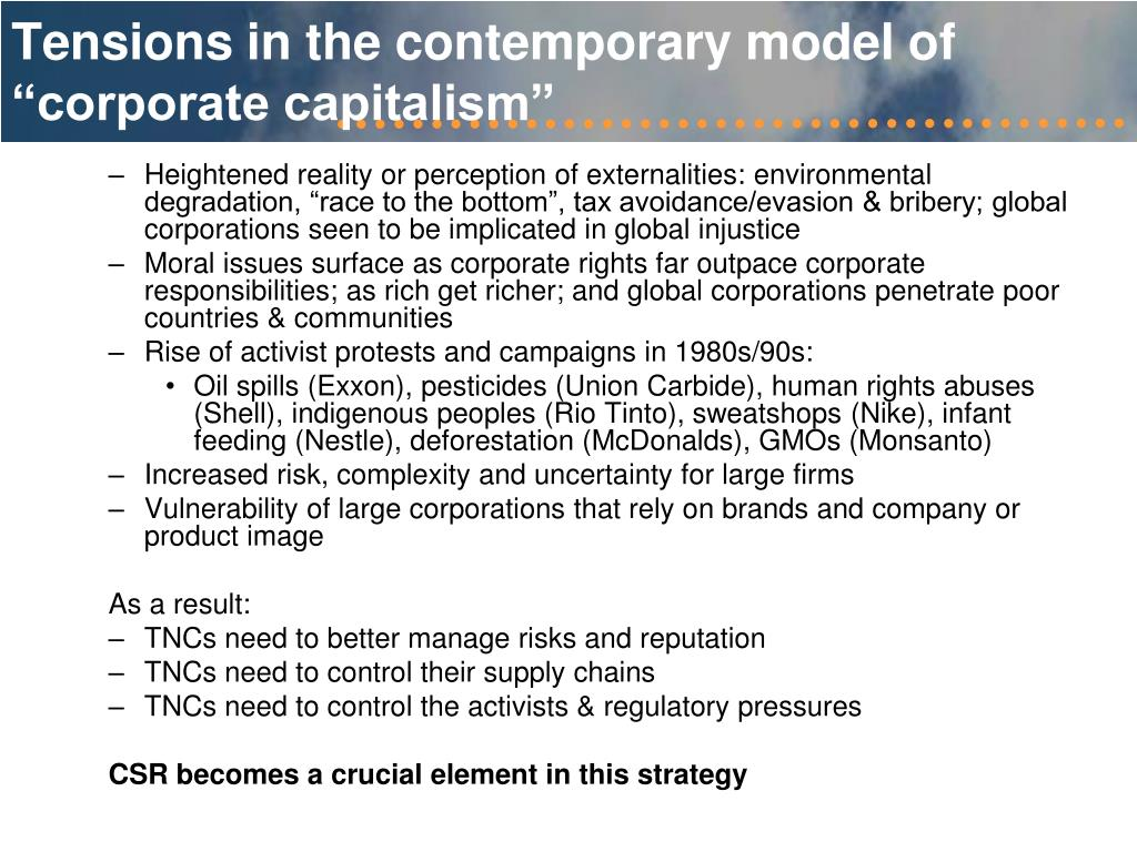 "Tensions in the contemporary model of ""corporate capitalism"""