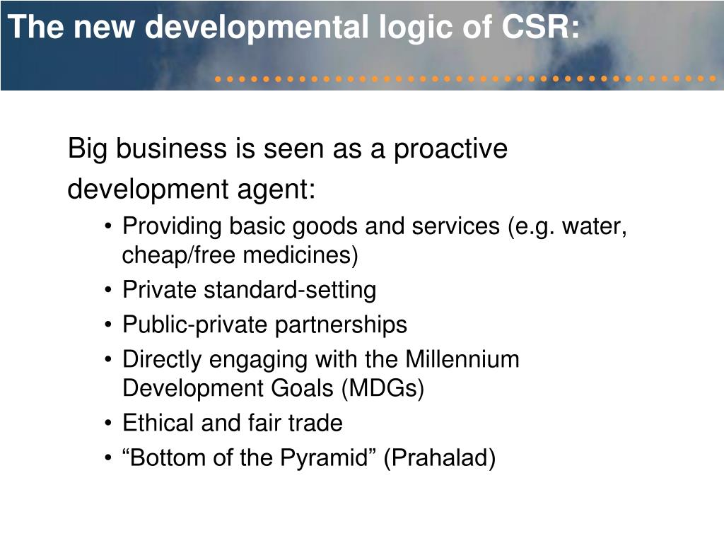 The new developmental logic of CSR: