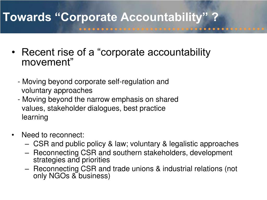 "Towards ""Corporate Accountability"" ?"