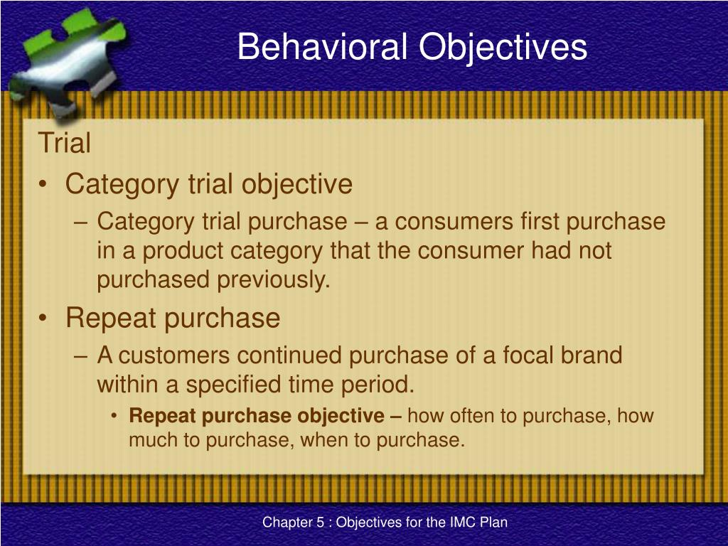 Behavioral Objectives