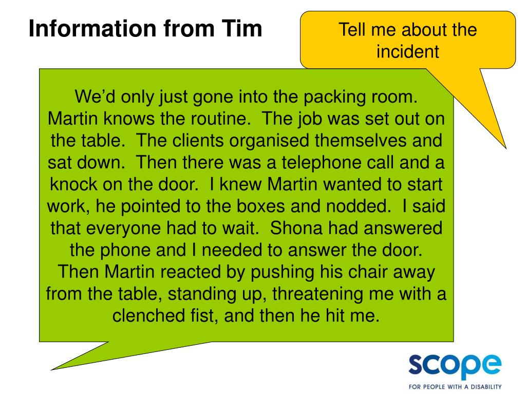 Information from Tim