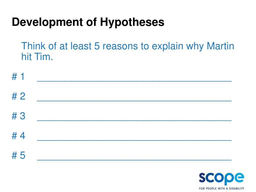 Development of Hypotheses