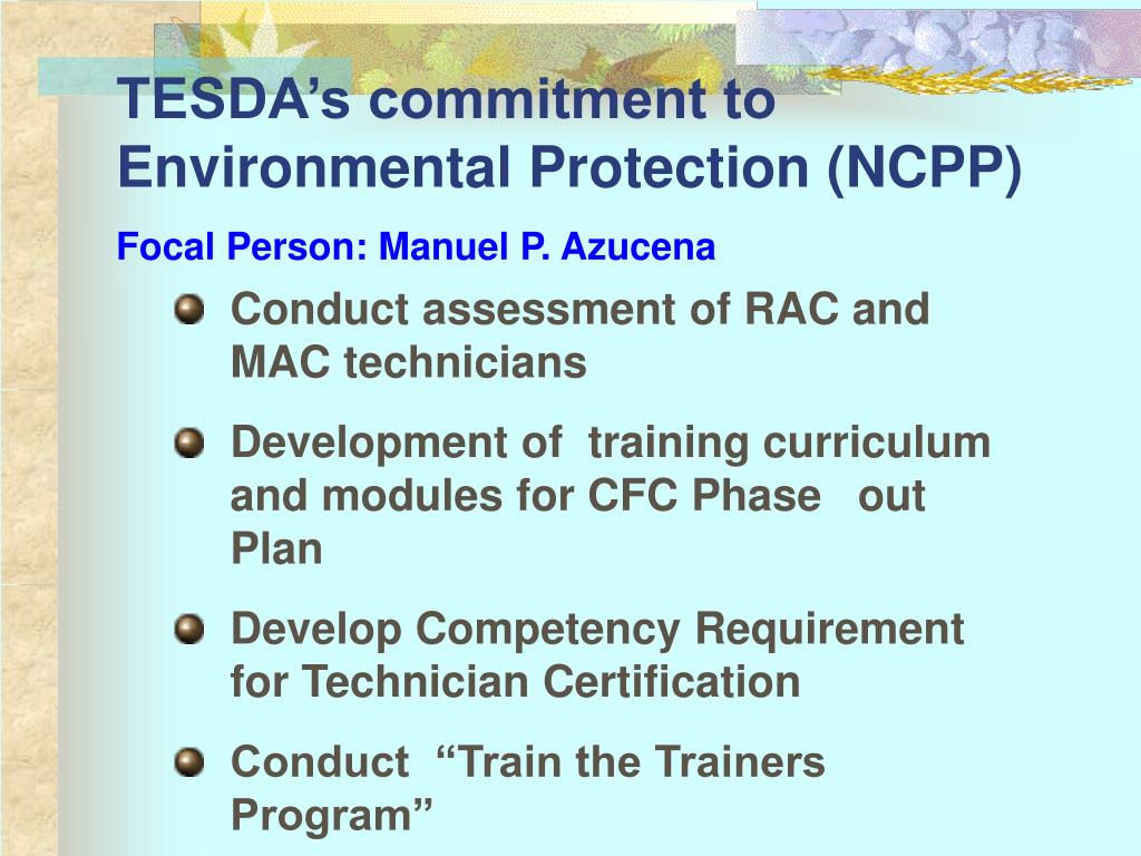 TESDA's commitment to Environmental Protection (NCPP)