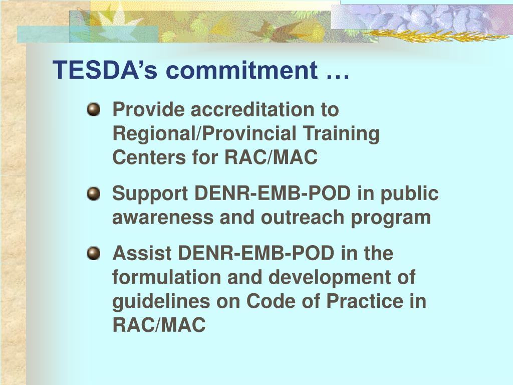 TESDA's commitment …