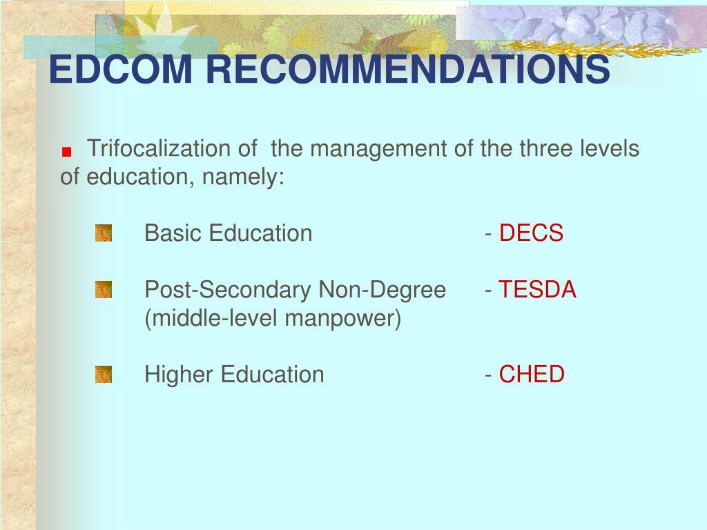 EDCOM RECOMMENDATIONS