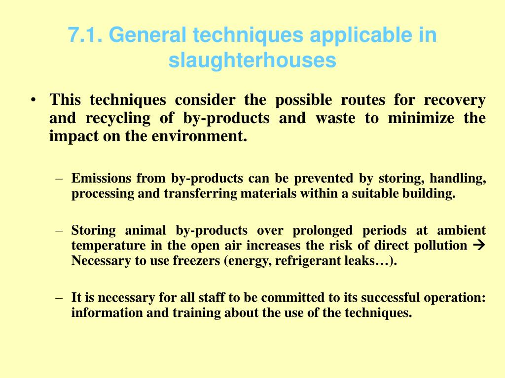 7.1. General techniques applicable in slaughterhouses