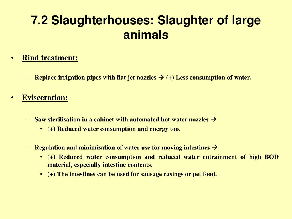 7.2 Slaughterhouses: Slaughter of large animals