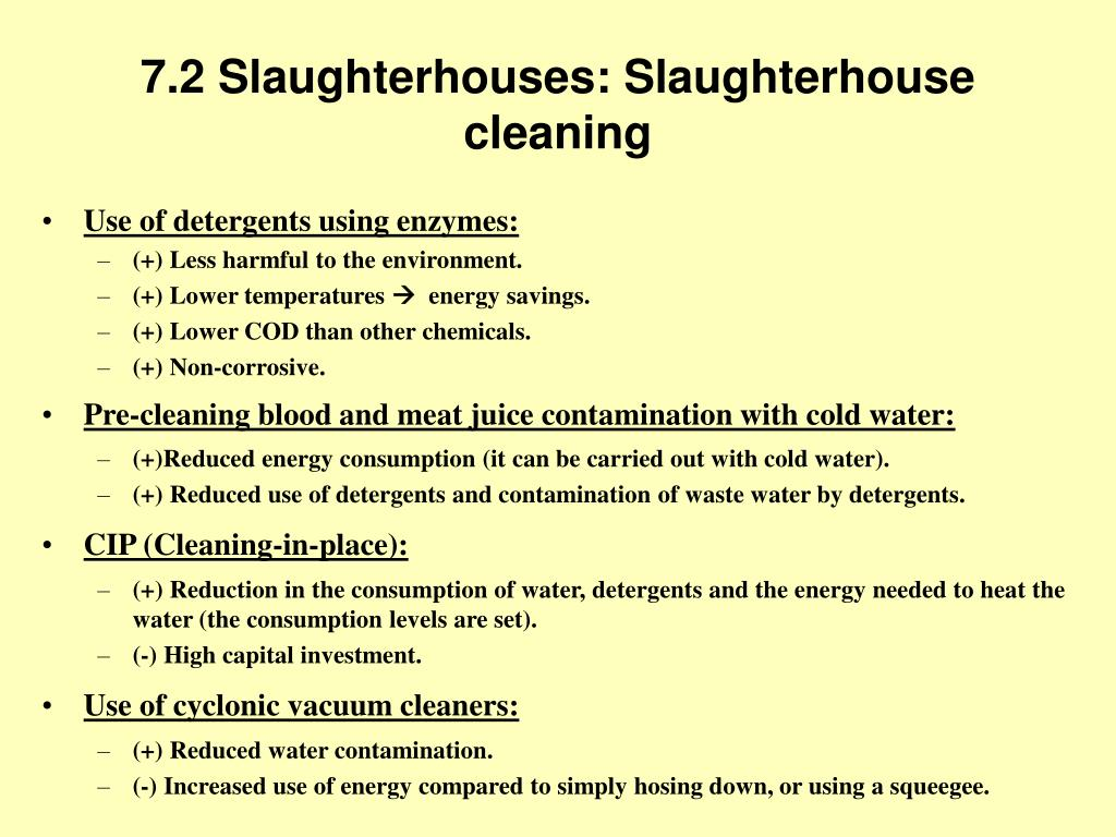 7.2 Slaughterhouses: Slaughterhouse cleaning