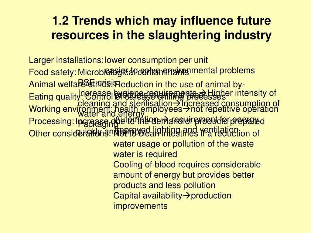 1.2 Trends which may influence future resources in the slaughtering industry