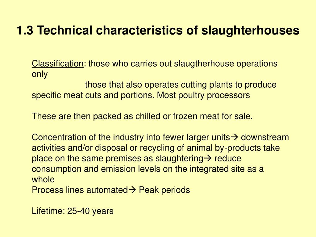 1.3 Technical characteristics of slaughterhouses