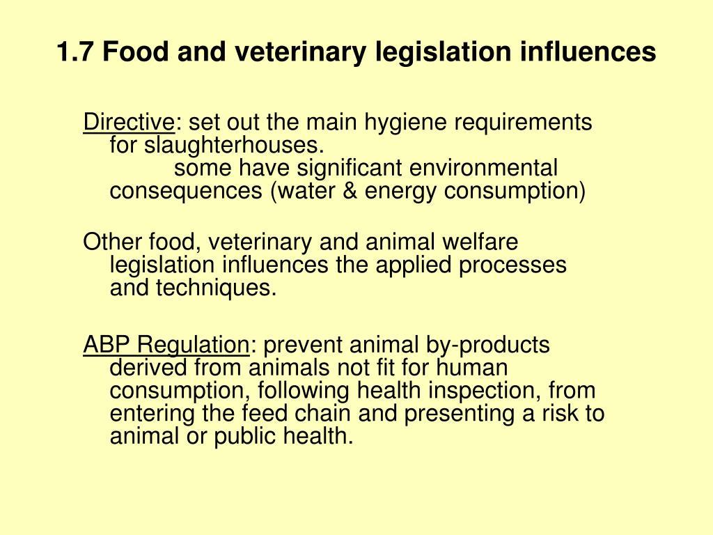 1.7 Food and veterinary legislation influences