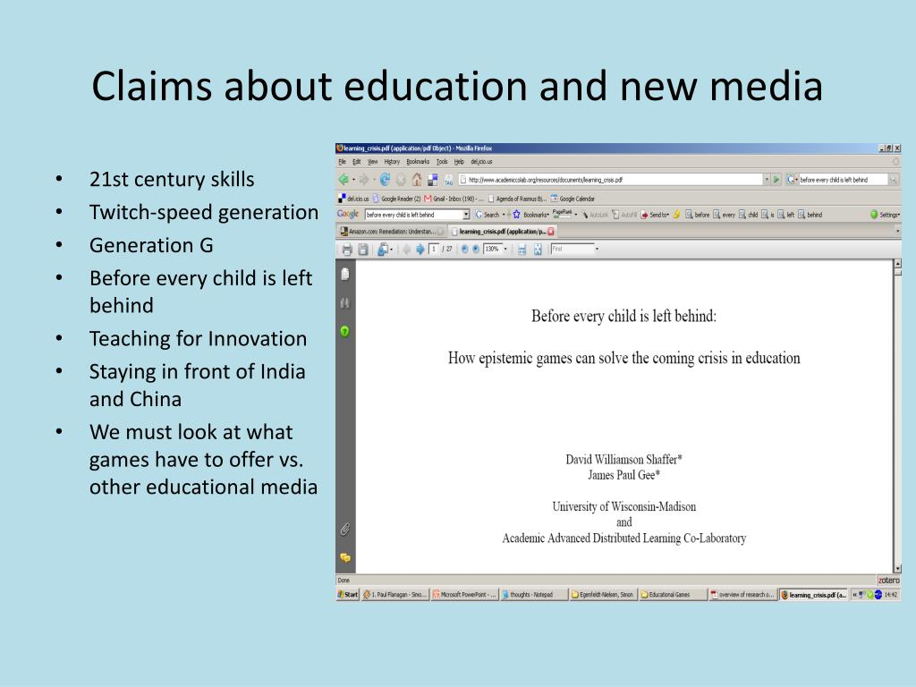 Claims about education and new media