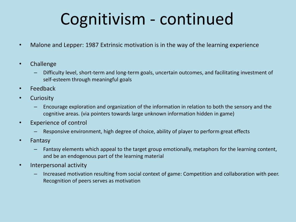 Cognitivism - continued