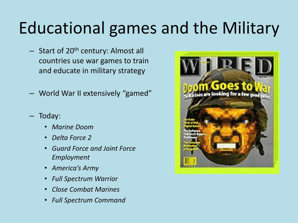 Educational games and the Military