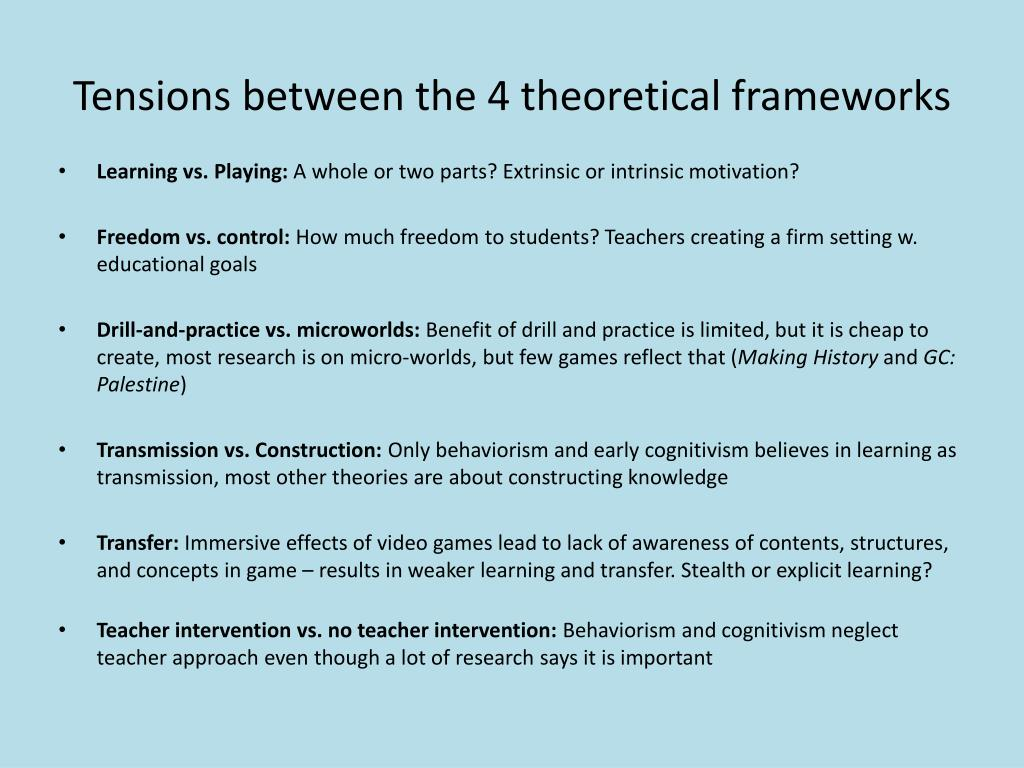 Tensions between the 4 theoretical frameworks
