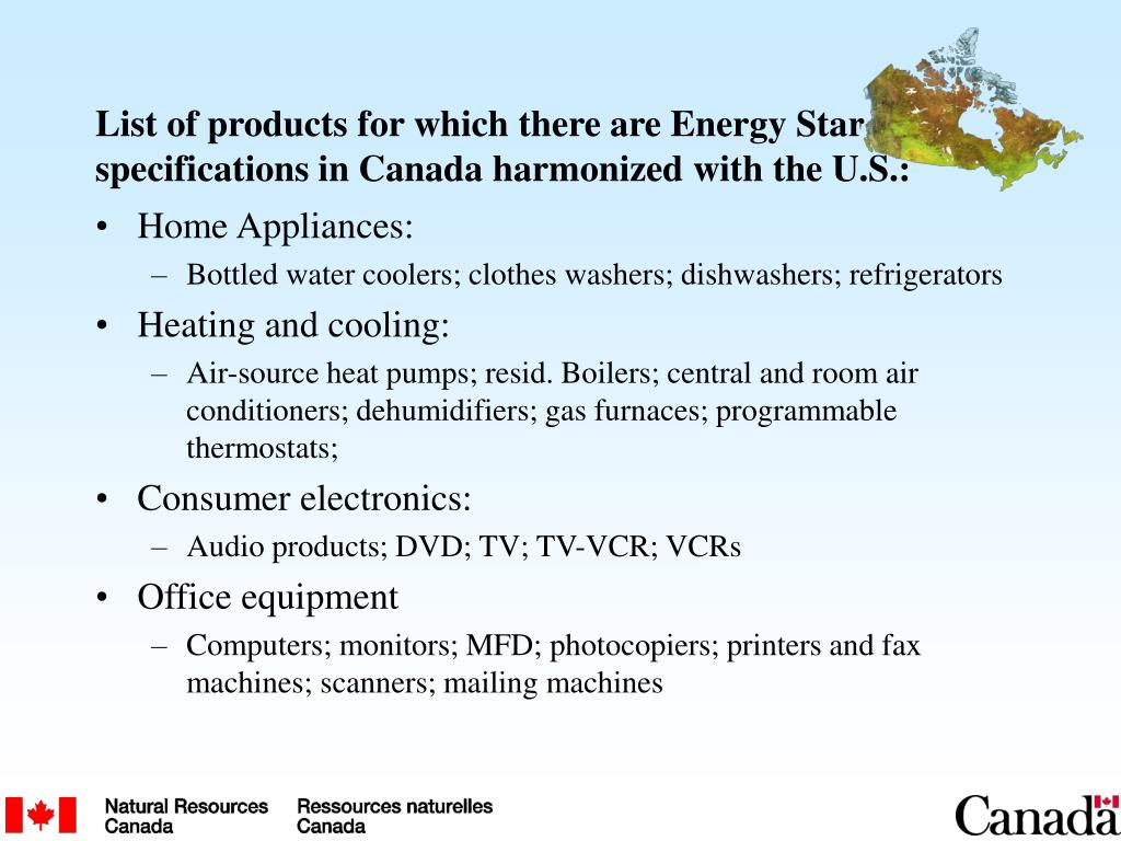 List of products for which there are Energy Star specifications in Canada harmonized with the U.S.: