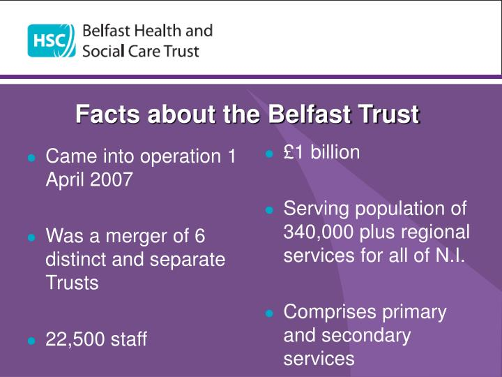 Facts about the belfast trust