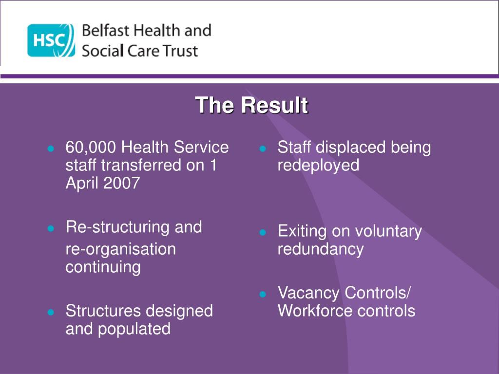 60,000 Health Service staff transferred on 1 April 2007