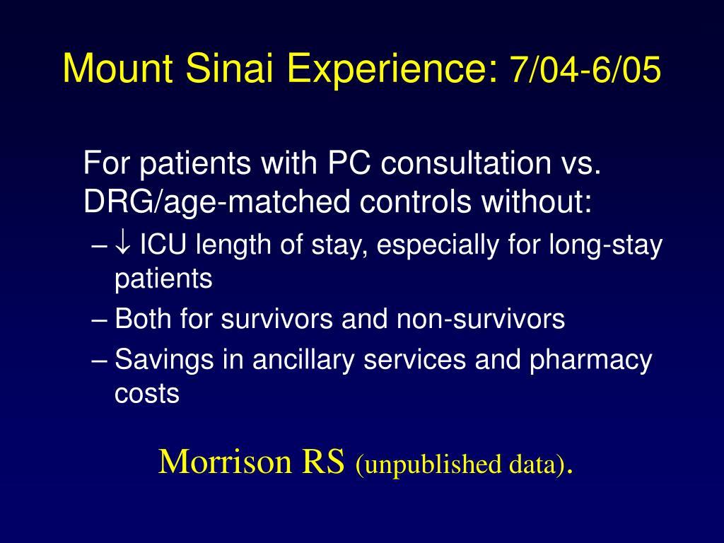 Mount Sinai Experience: