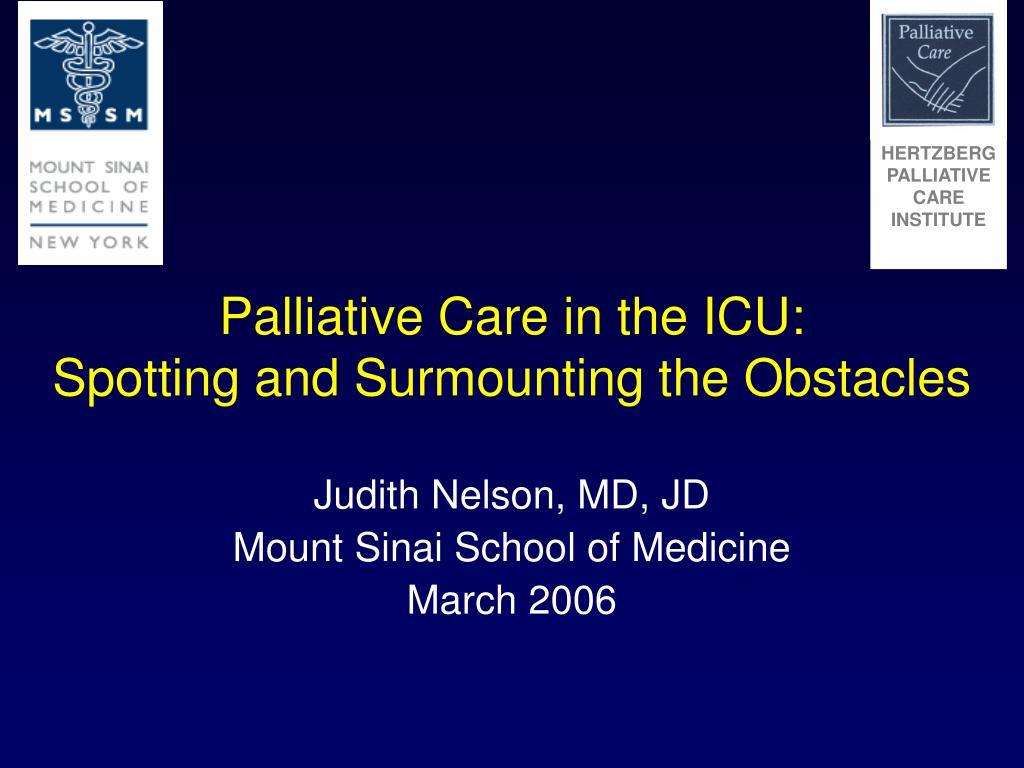 Palliative Care in the ICU: