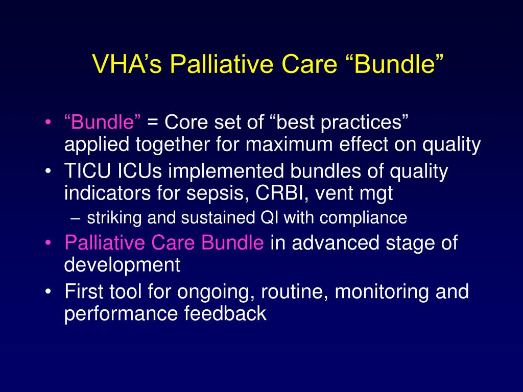 "VHA's Palliative Care ""Bundle"""